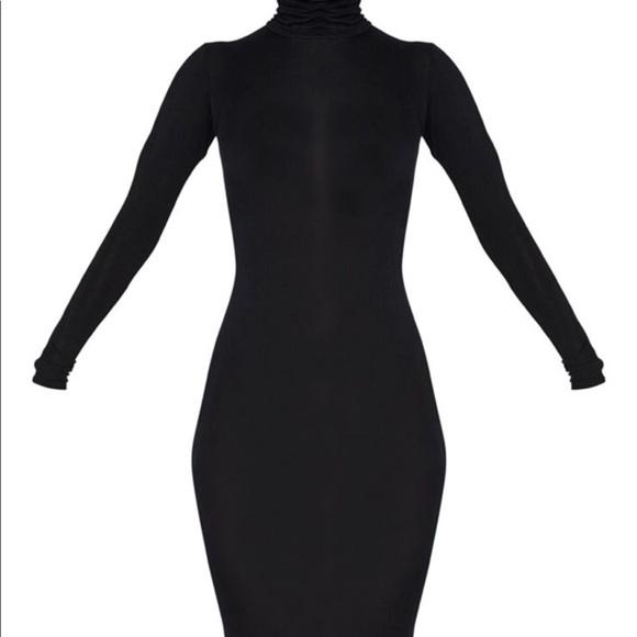 3f7ac5eac1f Basic Black Roll Neck Midi Dress